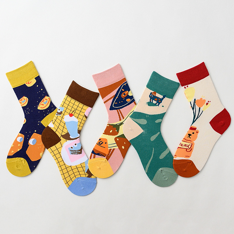 2020 Summer Original Lovely Cartoon Print Women Socks Cute Animals Patterned Casual Funny Socks For Female Breathable Couple Sox