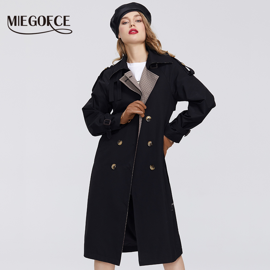 MIEGOFCE 2020 New Spring Trench From Women's Cloak Warm Windproof Coat Jacket  Resistant Collar Cloak With Buttons