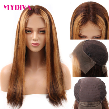 13x6 Deep Part Lace Front Human Hair Wig Brown And Blonde Highlight Color Wigs Brazilian Remy Blonde Lace Front Wigs Mydiva