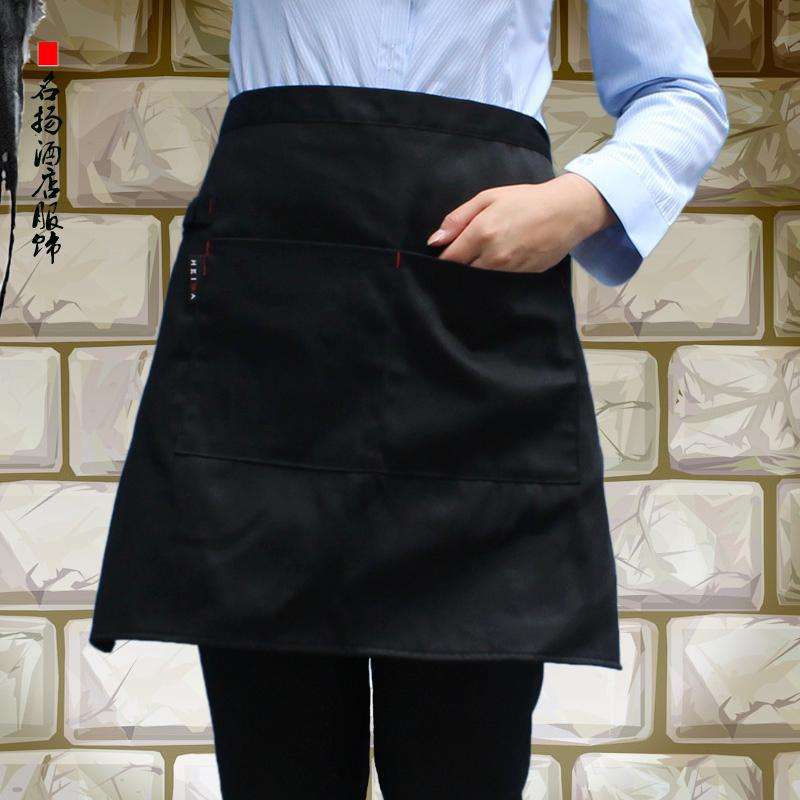 Hotel Waiter Men And Women Half length Short Chef Black And White with Pattern Little Apron Hotel Western Restaurant Coffee Shop|Oversleeves| |  - title=