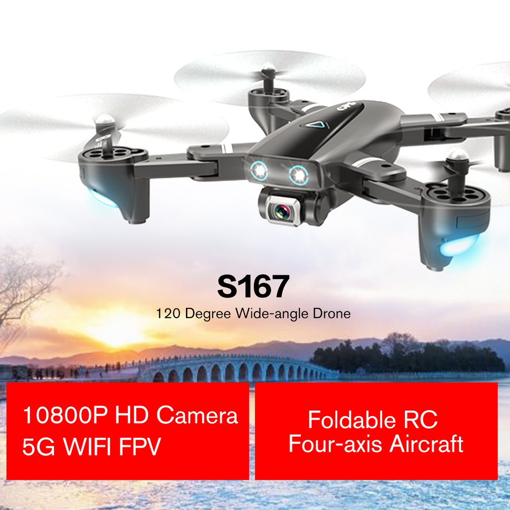 Drones Quadcopter Wifi S167 1080P Foldable FPV GPS RTF HD Positioning Wide-Angle