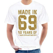 Made In 69 50 Years Of Awesomeness Black Men Cotton T Shirt Black S 4Xl @047473