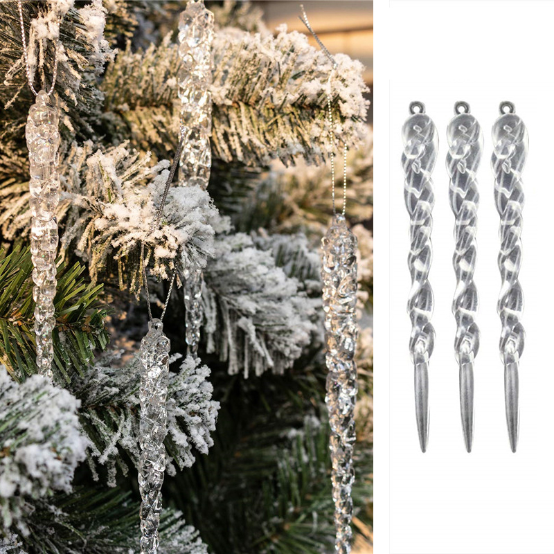 Christmas Decoration 3/6PCS Simulation Ice Xmas Tree Hanging Ornament Fake Icicle Props X-mas Tree Decorations Winter Party