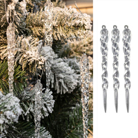 Kerst Decoratie 3/6Pcs Simulatie Ijs Xmas Tree Opknoping Ornament Nep Ijspegel Props X-Mas Tree Decoraties winter Party