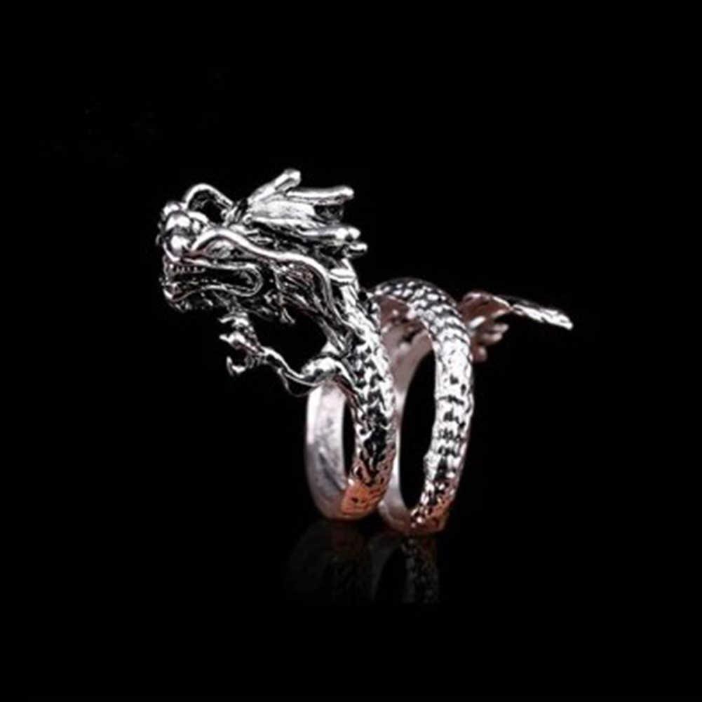 Yeni tasarım Retro ayarlanabilir gümüş ejderha yüzük erkekler kadınlar için kişilik moda parmak açılış yüzükler Dropshipping