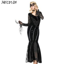 Gothic Hoodie Jurk Met Lange Mouwen Lace Splicing Hoge Taille Jurk Zwart Hollow Out Halloween Sexy Party Jurk Vestidos Elbise 5XL(China)