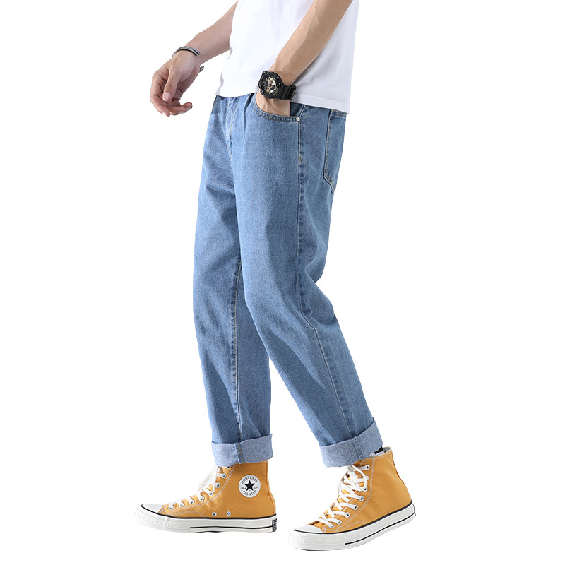 Men's 2019 Streetwear Loose Denim Pants Men Autumn Winter Straight Pants Male Fashion Pockets Cuffs Jeans Plus Size