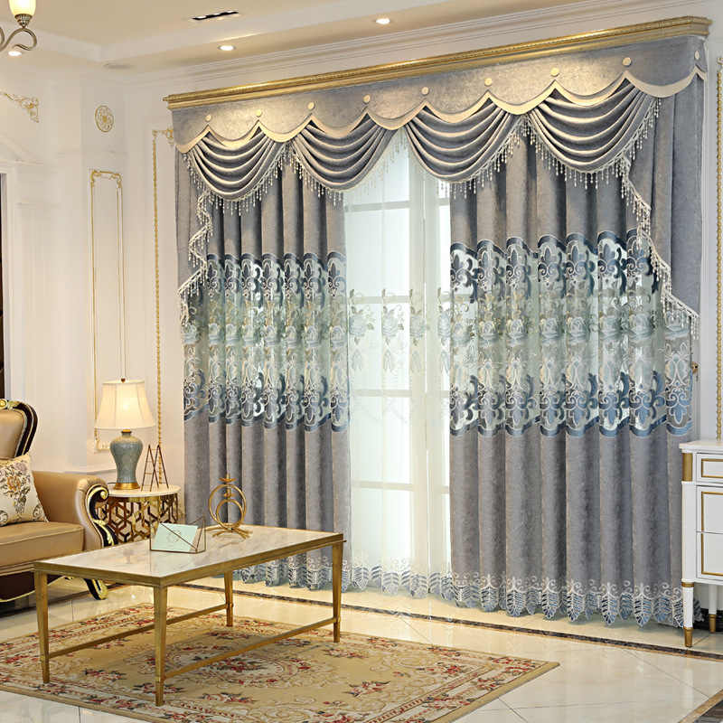 High-grade European shading chenille embroidery window treatments curtain cloth living room gray luxury tulle for bedroom M118-5