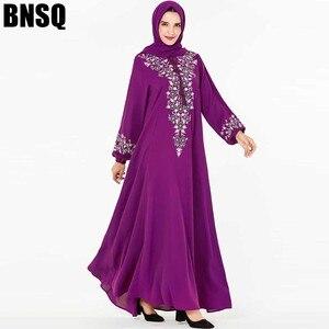 Image 1 - BNSQ Mode Frauen Muslimischen Kleid Abaya Islamische Kleidung Malaysia Jilbab Djellaba Robe Musulmane Stickerei Maxi Kleid Plus Größe