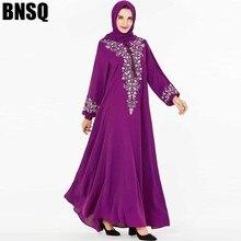 BNSQ Mode Vrouwen Moslim Jurk Abaya Islamitische Kleding Maleisië Jilbab Djellaba Gewaad Musulmane Borduren Maxi Jurk Plus Size