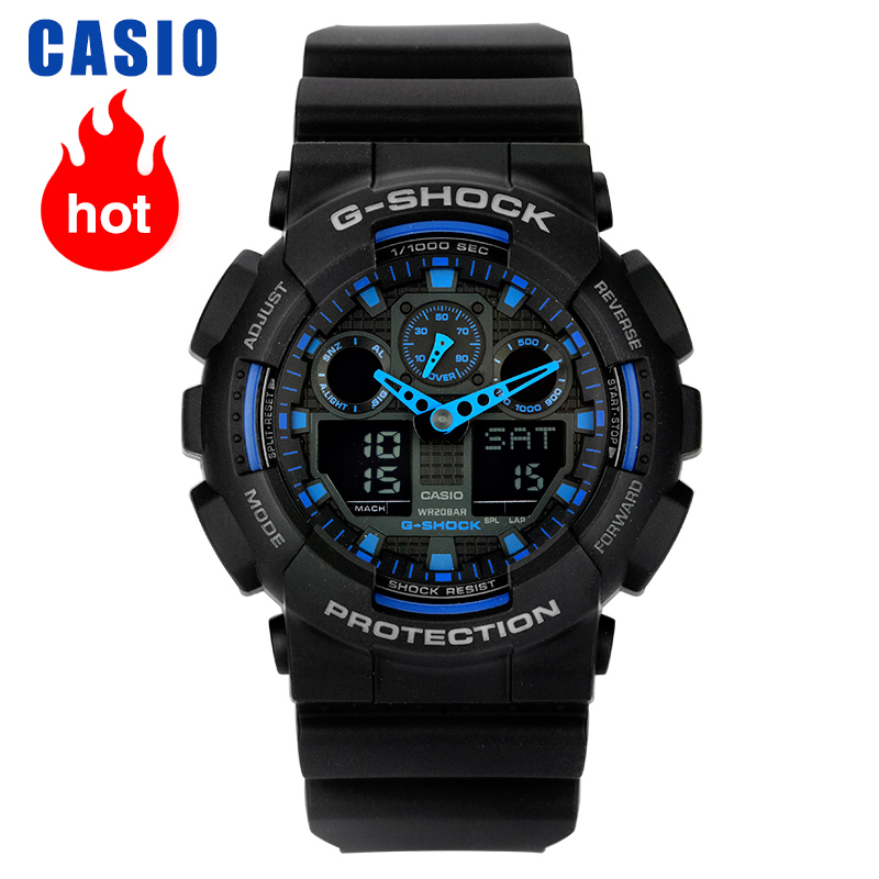 Saatler'ten Kuvars Saatler'de Casio izle G SHOCK serisi çok fonksiyonlu spor erkek saati GA 100 1A2 title=