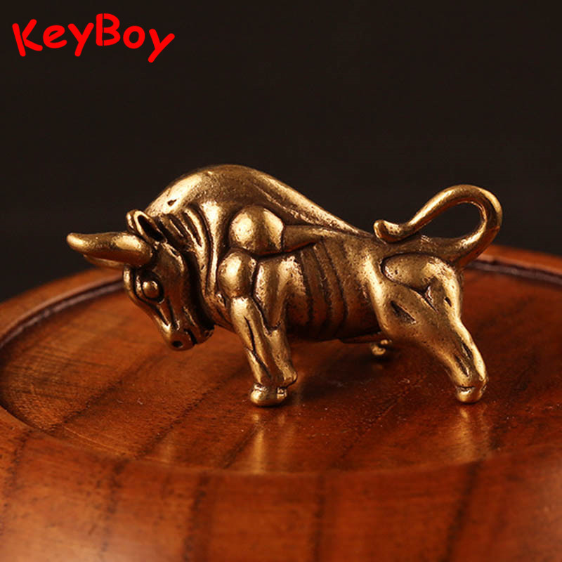 Retro Brass Zodiac Wall Street Bull Lucky Pendant Necklace Pure Copper Animal Bull Car Keychain Hanging Trinket Birthday Gifts