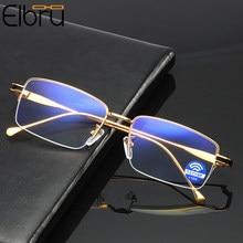 Elbru – lunettes de lecture Anti-lumière bleue, grossissantes métalliques, pour hommes et femmes, demi-monture, optique + 0 1.0 1.5 2.0 2.5 3 3.5 4.0