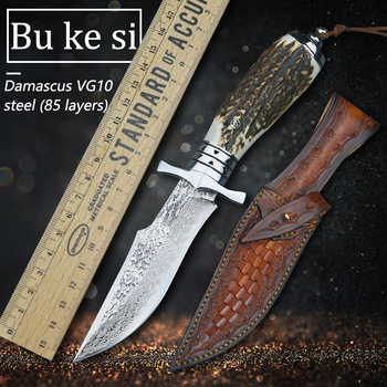 Damascus VG10 steel outdoor knife camping high hardness fixed blade survival knife hunting tactical straight knife EDC tool недорого