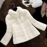 Senhora do escritório casaco de pele de vison gola do falso casacos de pele das mulheres elegante manga longa casacos outerwear 2019 inverno falso para casaco