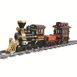 473 шт. классический паровой поезд, городской технический строительный блок, кирпичи, совместимы с техникой, развивающие игрушки для детей
