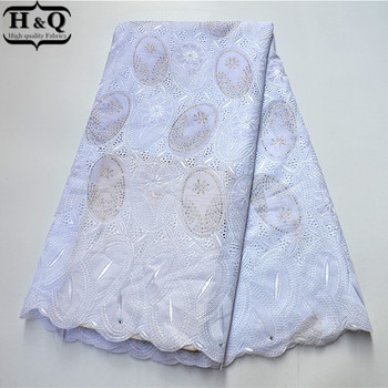 White 100% Cotton African Lace Fabric High Quality Swiss Voile Lace In Switzerland Fashion With Stones 5 Yards For Wedding Dress