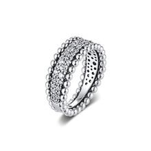 CKKแหวนลูกปัดPaveแหวนAnel Feminino 100% 925เครื่องประดับสเตอร์ลิงเงินAnillos Mujerหมั้นBagues Pour
