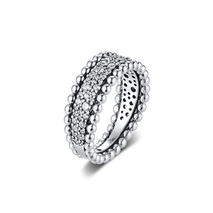 Image 1 - CKK bague perlée pavé anneaux femmes Anel Feminino 100% 925 bijoux en argent Sterling Anillos Mujer mariage bagues pour fiançailles