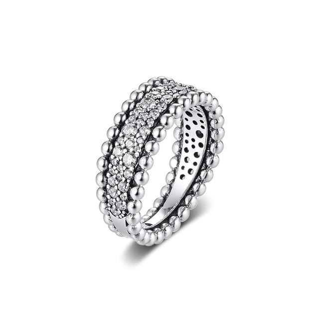 CKK bague perlée pavé anneaux femmes Anel Feminino 100% 925 bijoux en argent Sterling Anillos Mujer mariage bagues pour fiançailles