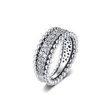 Ckk anel frisado pave anéis feminino anel 100% 925 jóias prata esterlina anillos mujer casamento engajamento bagues pour