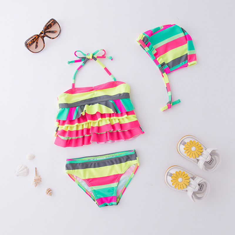 Girls' Two-piece Swimsuit Colorful Stripes Bandage Cloth With Hat-KID'S Swimwear Hot Springs Clothing