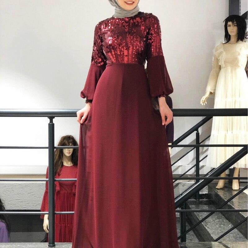 Muslim Abaya Maxi Dress luxury Vintage Ethnic Chiffon Sequins Embroidery Dubai Robes Turkey Moroccan Dresses Fall Party Wears