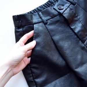 S-4XL Fashion PU Leather Shorts Women's Autumn Winter Bermuda Elastic Waist Loose Five Points Leather Trouser Plus Size Shorts