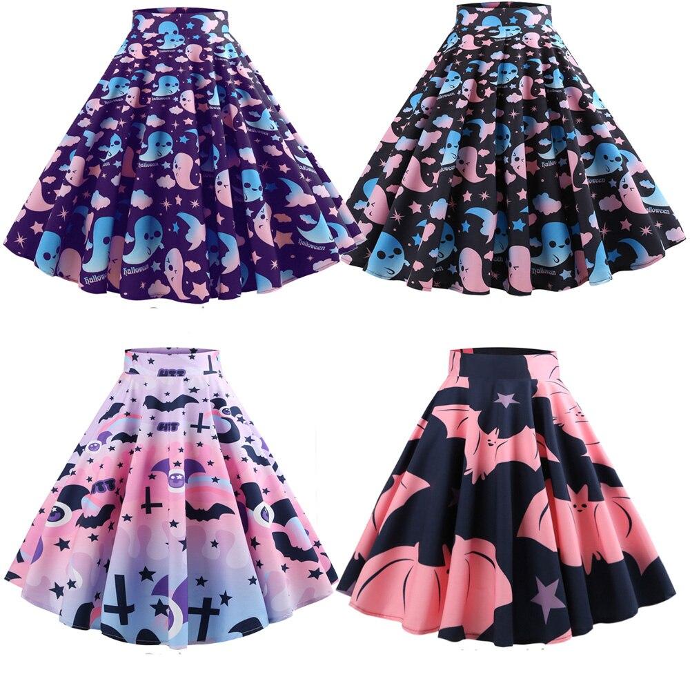 Halloween Skirt Ghost Bat Print Women High Waist Hepburn Vintage Skirts Zipper Cotton A-Line Skirts 60s 1950's Women's Vestidos
