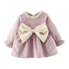 Long Sleeve Newborn Girl Dress Winter Warm Bow Baby Dress Br