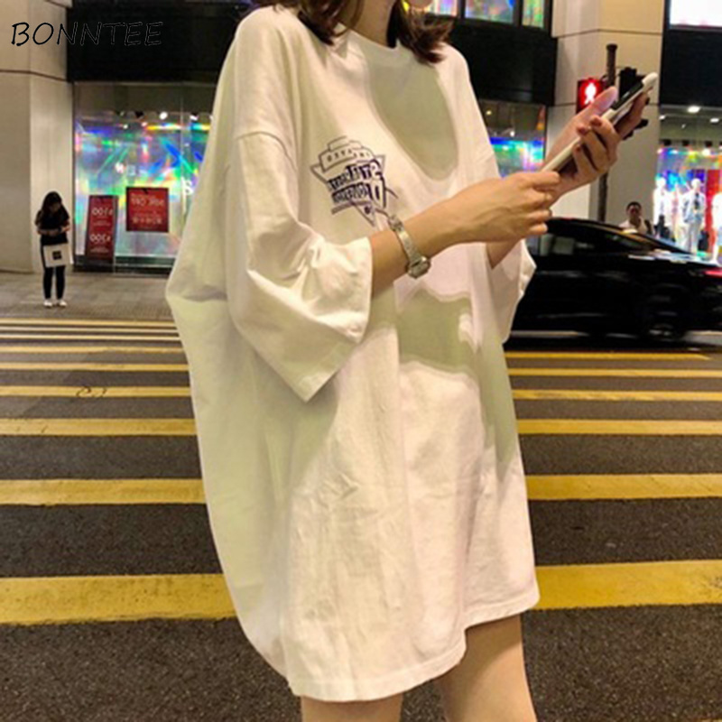 T-shirts Women Half Sleeve O-Neck Lengthen Loose Streetwear Letter Printing Chic Summer Clothing Harajuku Soft Thin All-match