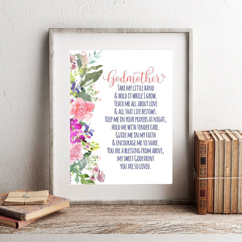 Godparents Poem Print Gift for Godmother , Bible Verses Watercolor Flowers Wall Art Picture Canvas Painting Poster Baptism Gifts image