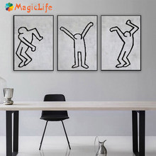 Desenhos animados frescos arte da parede pintura em tela abstrata nórdico preto e branco cartaz arte moderna minimalista para sala de estar sem moldura