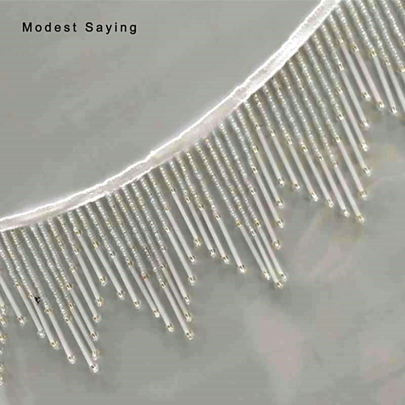 5 Yards Ivory 11cm Beaded Fringe Trim Ribbon Wave Sewing Tassel Fringe Trimming Latin Dress Evening Gowns Garment Accessories