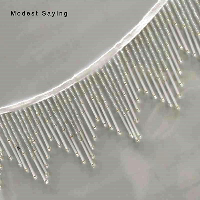 5 Yards Ivory 11cm Beaded Fringe Trim Ribbon Wave Sewing Tassel Fringe Trimming Latin Dress Evening Gowns Garment Accessories