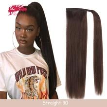 Coleta de cordón con Clip para mujer, extensión de cabello Natural humano, envoltura recta alrededor del cabello Tai brasileño Remy