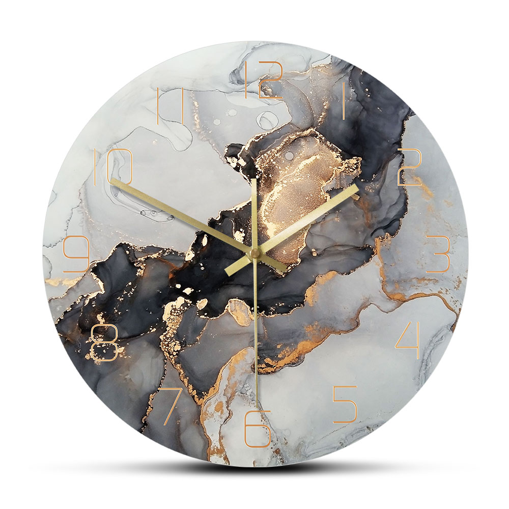 Abstract Ink Printed Wall Clock Modern Art Marble Texture Silent Quartz Clock Watercolor Painting Home Decor Wall Watch Just6F