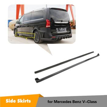 Carbon Fiber Side Skirts Extension Lip For Mercedes-Benz V Class V250 V220d 2015 2016 2017 2018 2019 Door Side Bumper Aprons image