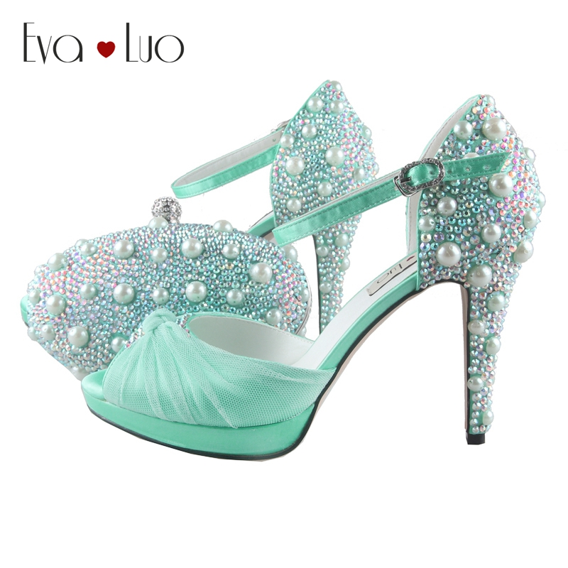 BS797 Gorgeous Custom Made Mint Green Shoes With Matching Bag Set Bowtie High Heel Women Shoes Dress Pumps Bridal Wedding Shoes-in Women's Pumps from Shoes    1