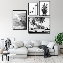 Настенные художественные плакаты на холсте с ананасами Скандинавская