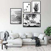 Abacaxi arte da parede lona cartazes nordic tropical palm mar paisagem pintura preto branco quadro decorativo sala de estar decoração