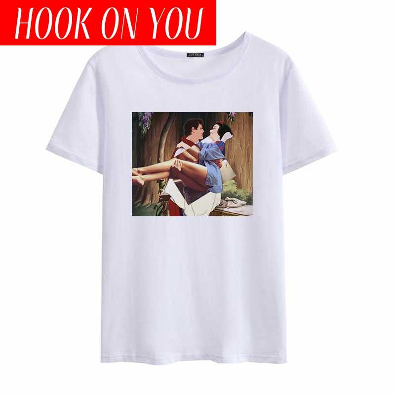夏のパロディー楽しい新白雪姫 tシャツ半袖 o ネックの漫画カジュアルトップス女性原宿おかしいシャツ