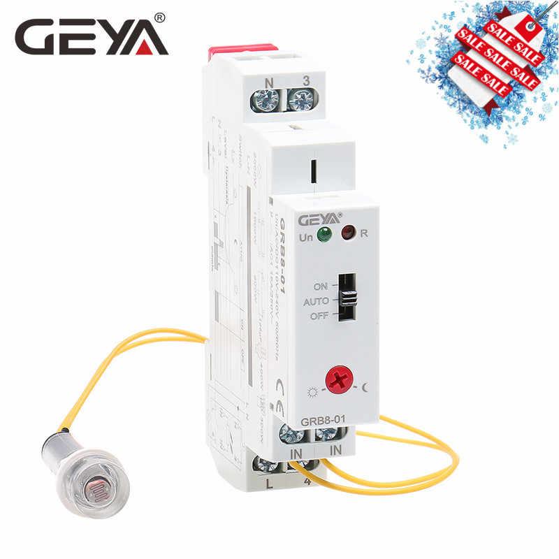 Livraison gratuite GEYA GRB8-01 Din rail crépuscule interrupteur photoélectrique minuterie capteur de lumière relais AC110V-240V Auto ON OFF