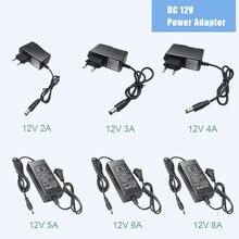 1 pces 1a 2a 3a 5a 6a 8a fonte de alimentação adaptador ac100v-240v para dc 12v iluminação transformador conversor carregador driver led strip luz
