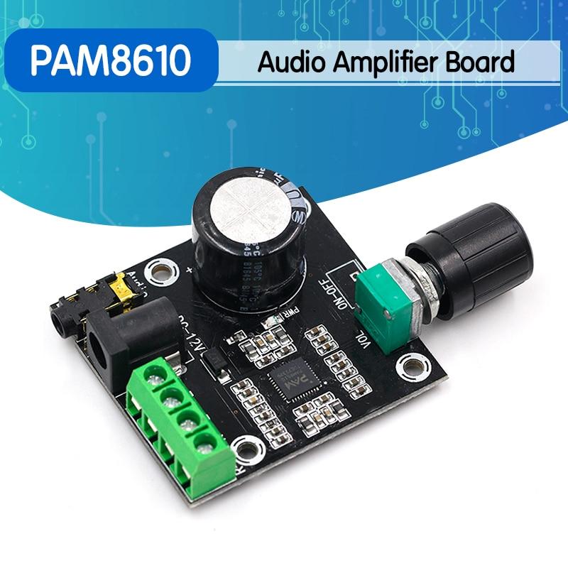 Super Slim 2 x 15W PAM8610 Class D Digital Dual Power Audio Amplifier Board 12V black