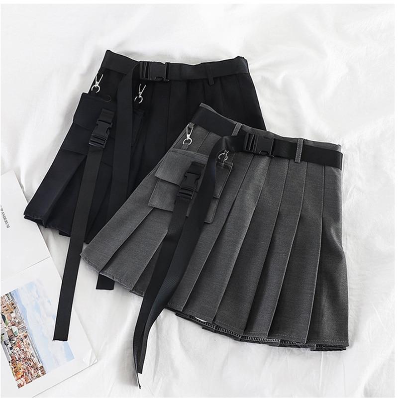 Womens Streetwear Tooling Half-length Pleated Skirt Safari Black Short Skirt Fashion High Waist Harajuku Women Skirts