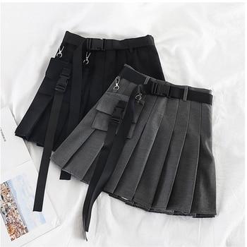 Womens Streetwear Tooling Half-length Pleated Skirt Safari Black Short Fashion High Waist Harajuku Women Skirts