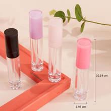 Uds 8ML tubo de brillo de labios de plástico vacía redonda brillo de labios botella transparente pequeño lápiz labial muestras recargable contenedor de cosméticos