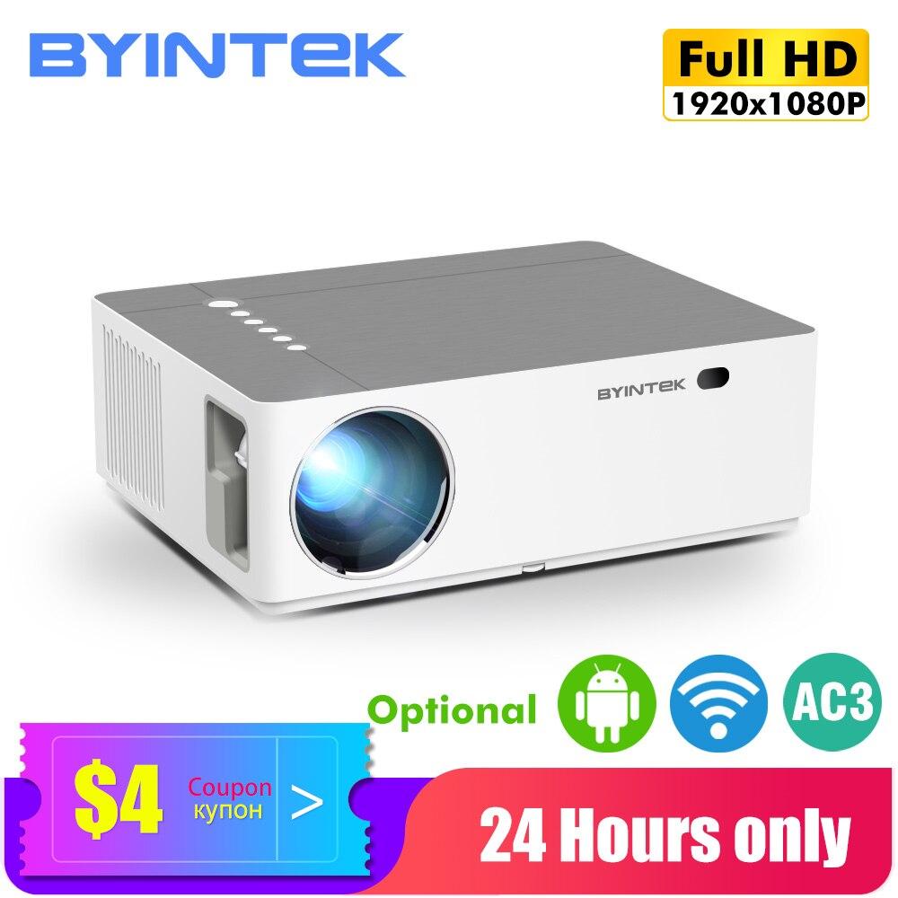 Byintek k20 hd completo 4k 3d 1920x1080p android wifi led vídeo 300 polegada projetor de cinema em casa beamer para smartphone