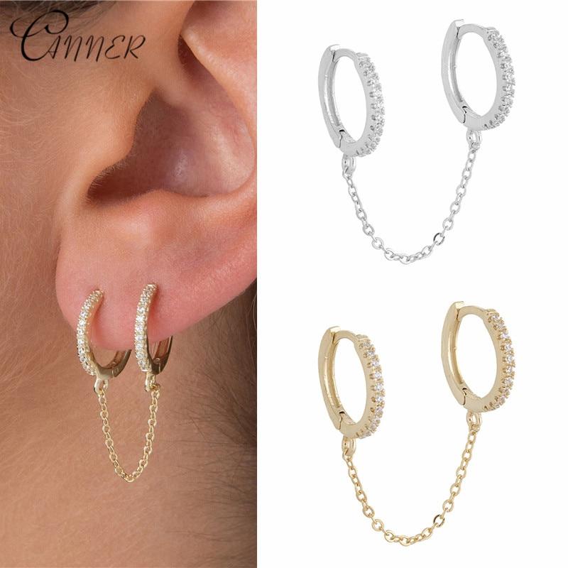 CANNER Fashion Micro Paved CZ Chain Drop Earrings Piercing Brincos 925 Sterling Silver Dangle Earrings for Women Korean Jewelry